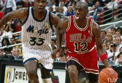Michael Jordan portant le #12 le soir de la Saint Valentin 1990