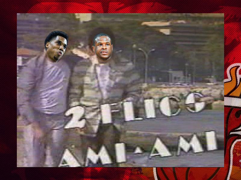 """Montage reprenant les visages des joueurs du Heat Whiteside et Waiters sur un fameux sketch des Nuls """"2 flics ami-ami"""", parodie de la série US 2 flics à Miami"""