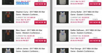 Quelques maillots en vente sur le site auctions.nba.com pour lesquels tu devras craquer ton PEL pour te les offrir