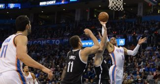 Russell Westbrook en action contre les Brooklyn Nets